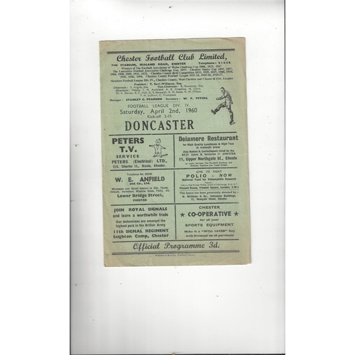 1959/60 Chester v Doncaster Rovers Football Programme