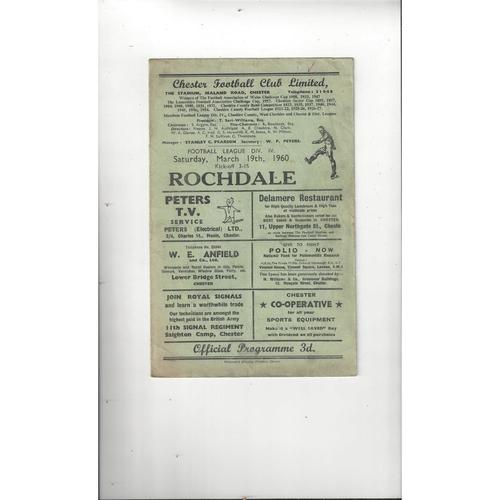 1959/60 Chester v Rochdale Football Programme