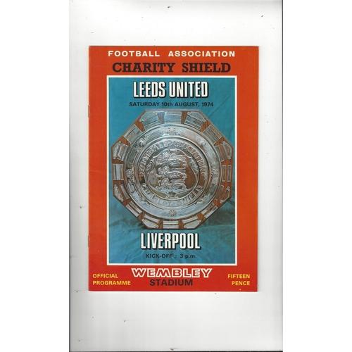 1974 Leeds United v Liverpool Charity Shield Football Programme