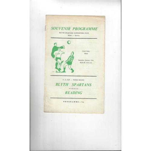 Blyth Spartans v Reading FA Cup Football Programme 1971/72