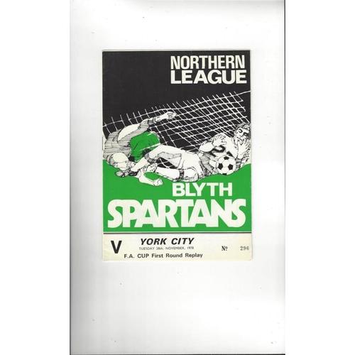 Blyth Spartans v York City FA Cup Replay Football Programme 1978/79