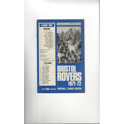 Bristol Rovers v Telford FA Cup Football Programme 1971/72