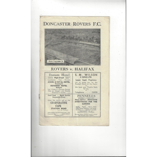 1946/47 Doncaster Rovers v Halifax Town Football Programme