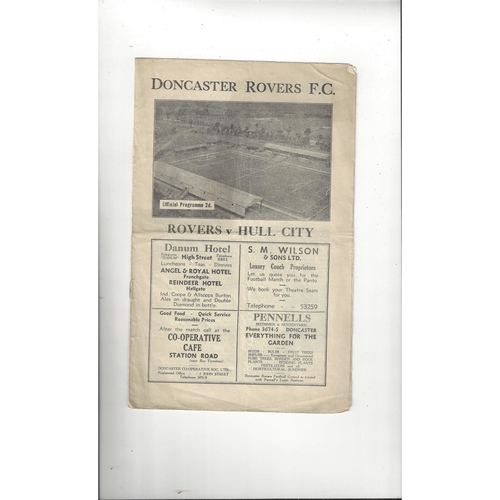 1946/47 Doncaster Rovers v Hull City Football Programme