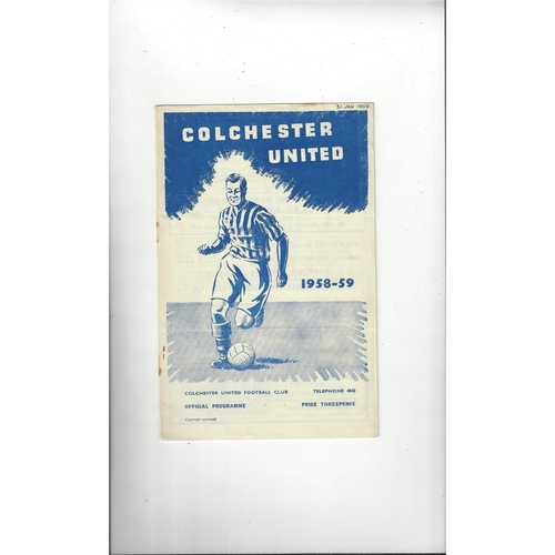 1958/59 Colchester United v Doncaster Rovers Football Programme
