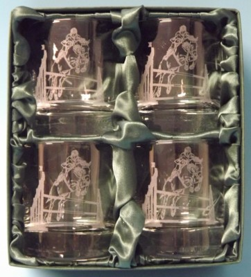 Engraved Whisky Glasses x 4