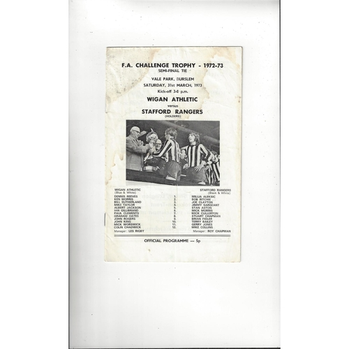 1972/73 Wigan Athletic v Stafford Rangers Trophy Semi Final Football Programme @ Port Vale