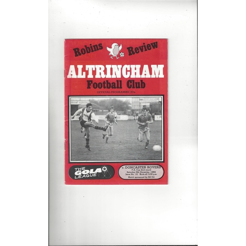Altrincham v Doncaster Rovers FA Cup Football Programme 1984/85