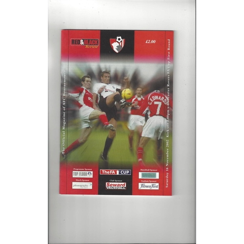 Bournemouth v Doncaster Rovers FA Cup Football Programme 2002/03