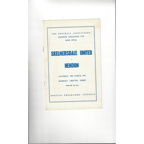 1966/67 Skelmersdale United v Hendon Amateur Cup Semi Final Football Programme