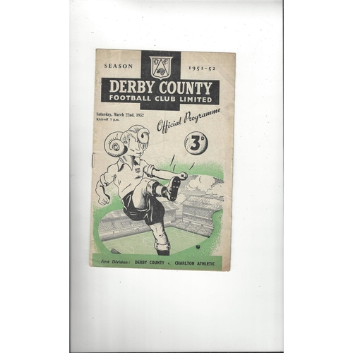 1951/52 Derby County v Charlton Athletic Football Programme