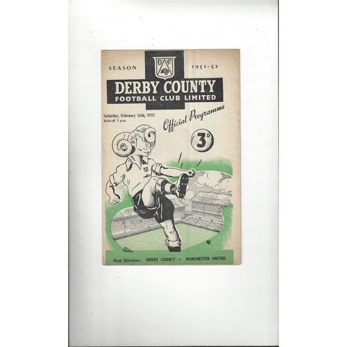 1951/52 Derby County v Manchester United Football Programme