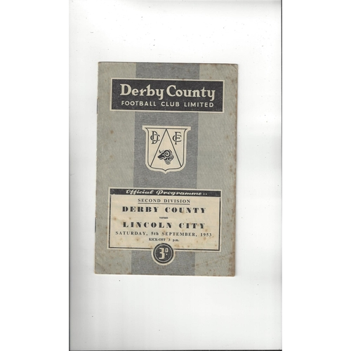 1953/54 Derby County v Lincoln City Football Programme
