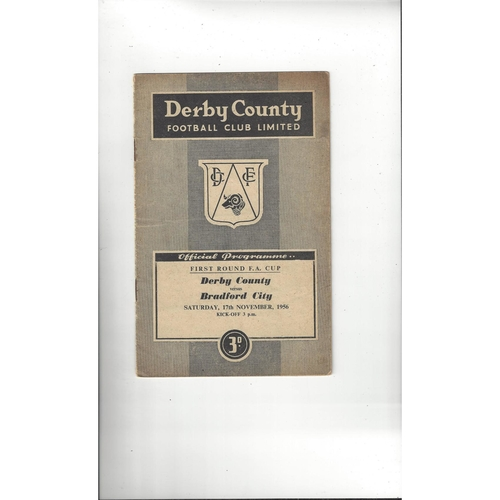 1956/57 Derby County v Barrow Football Programme