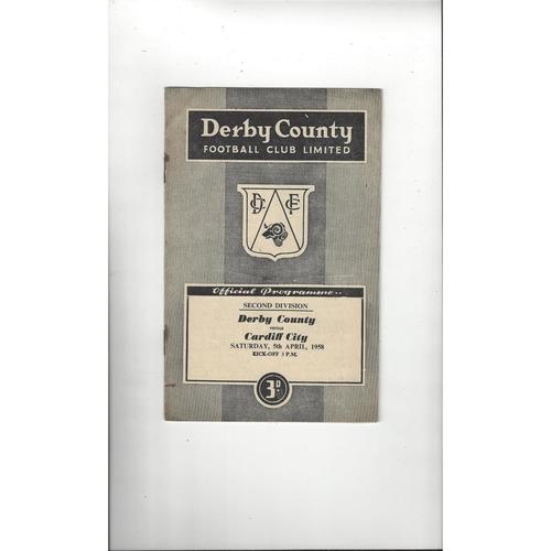 1957/58 Derby County v Cardiff City Football Programme