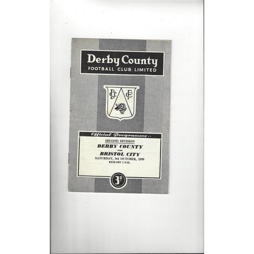 1959/60 Derby County v Bristol City Football Programme