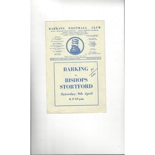 1959/60 Barking v Bishop's Stortford Football Programme