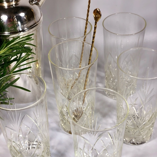 Six 19th Century French cut glass tumblers