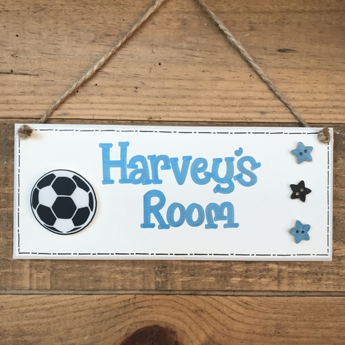 children's football door plaque