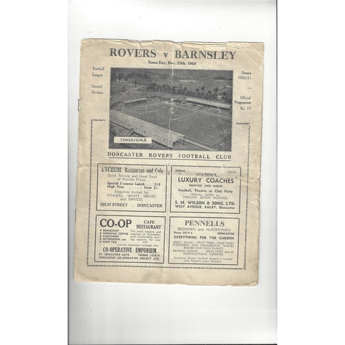 1950/51 Doncaster Rovers v Barnsley Football Programme