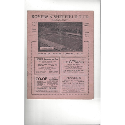 1950/51 Doncaster Rovers v Sheffield United Football Programme
