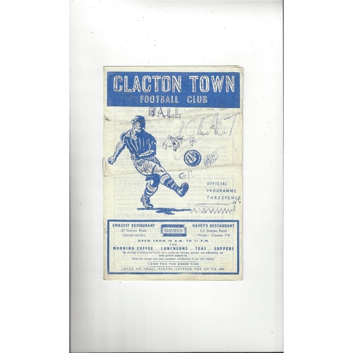 1958/59 Clacton Town v Cambridge City Football Programme