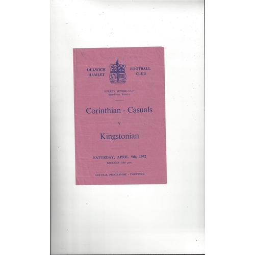 1951/52 Corinthian Casuals v Kingstonian Surrey Senior Cup Semi Final Replay Programme