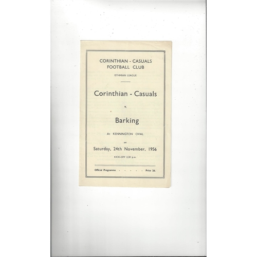 1956/57 Corinthian Casuals v Barking Football Programme