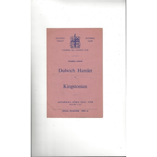 1957/58 Dulwich Hamlet v Kingstonian Football Programme