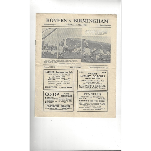 1951/52 Doncaster Rovers v Birmingham City Football Programme