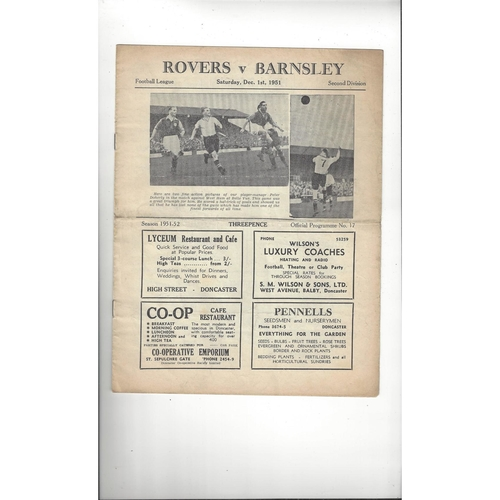 1951/52 Doncaster Rovers v Barnsley Football Programme