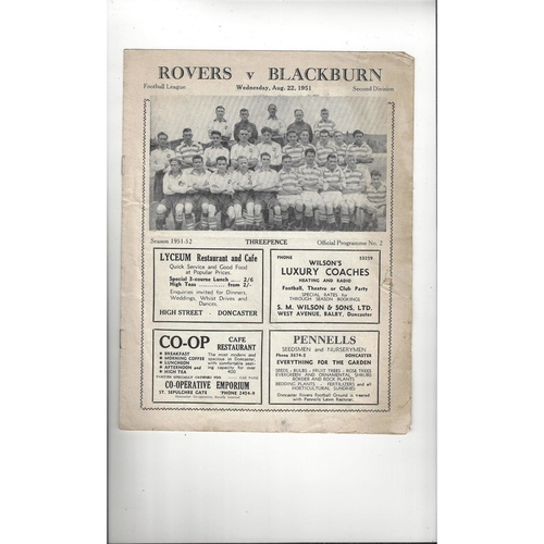1951/52 Doncaster Rovers v Blackburn Rovers Football Programme