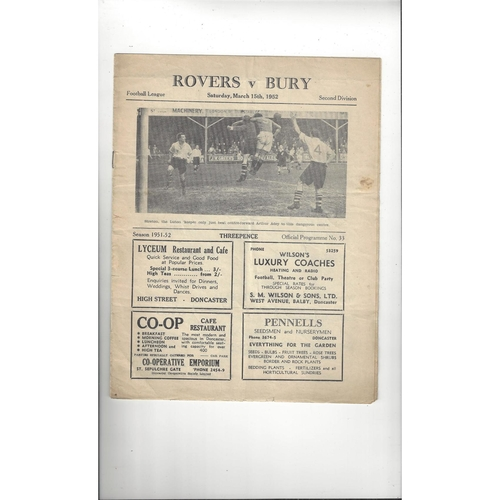 1951/52 Doncaster Rovers v Bury Football Programme