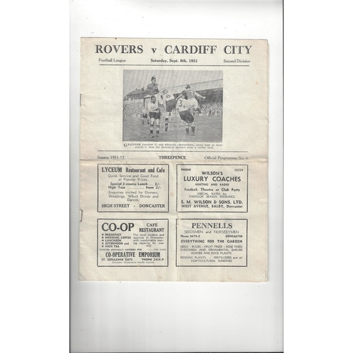 1951/52 Doncaster Rovers v Cardiff City Football Programme