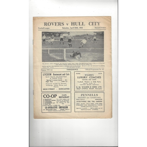 1951/52 Doncaster Rovers v Hull City Football Programme