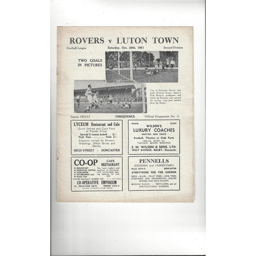 1951/52 Doncaster Rovers v Luton Town Football Programme