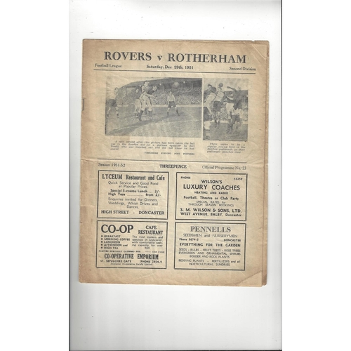 1951/52 Doncaster Rovers v Rotherham United Football Programme