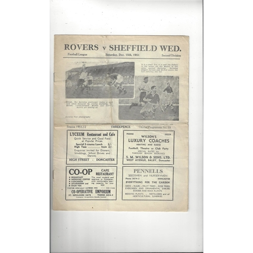 1951/52 Doncaster Rovers v Sheffield Wednesday Football Programme