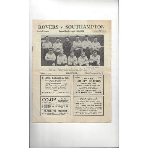 1951/52 Doncaster Rovers v Southampton Football Programme