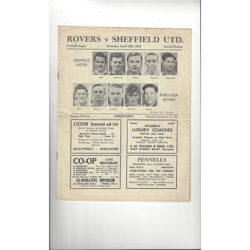 1951/52 Doncaster Rovers v Sheffield United Football Programme