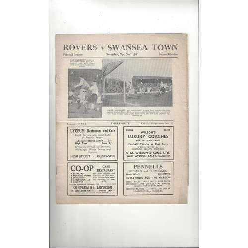1951/52 Doncaster Rovers v Swansea Football Programme