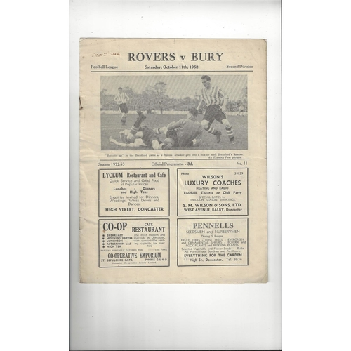 1952/53 Doncaster Rovers v Bury Football Programme