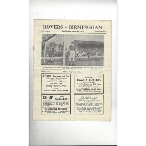 1952/53 Doncaster Rovers v Birmingham City Football Programme