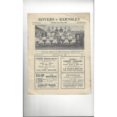 1952/53 Doncaster Rovers v Barnsley Football Programme