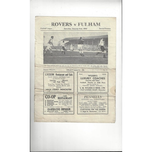 1952/53 Doncaster Rovers v Fulham Football Programme