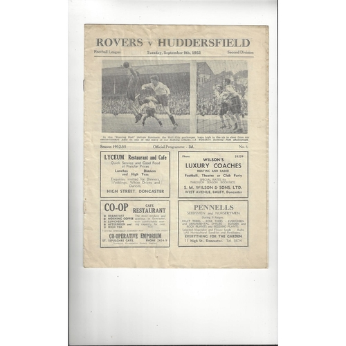 1952/53 Doncaster Rovers v Huddersfield Town Football Programme