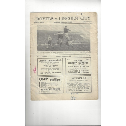 1952/53 Doncaster Rovers v Lincoln City Football Programme