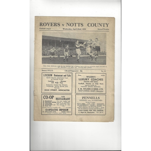 1952/53 Doncaster Rovers v Notts County Football Programme