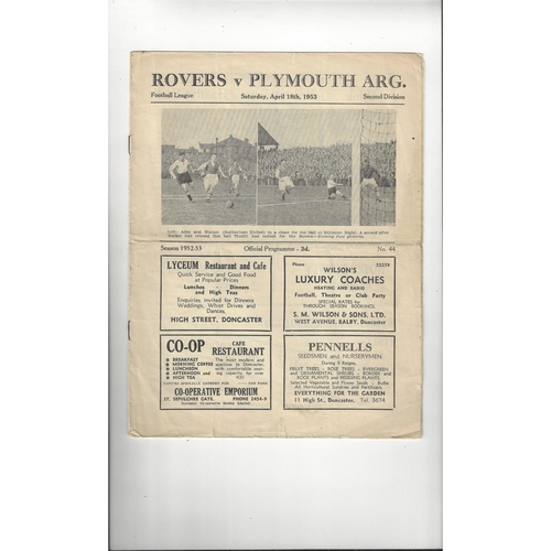1952/53 Doncaster Rovers v Plymouth Argyle Football Programme
