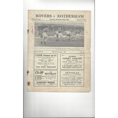 1952/53 Doncaster Rovers v Rotherham United Football Programme